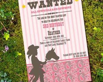 Little Cowgirl Birthday Invitation - Cowgirl Party - Instantly Downloadable and Editable File - Personalize at home with Adobe Reader
