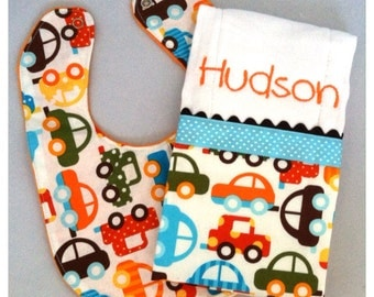 Modern Baby/Toddler Bib and Burp Cloth Set...Cars...Burp Cloth Personalized...Shower Chic