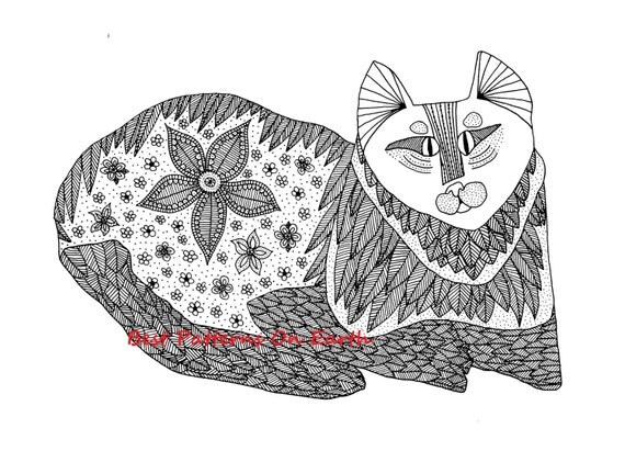 Items similar to Cat Coloring Page  Zen Cat  Hippy Trippy Cat