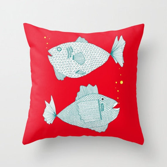 Red fish pillow fish pillows kids pillows red pillow for Fish throw pillows