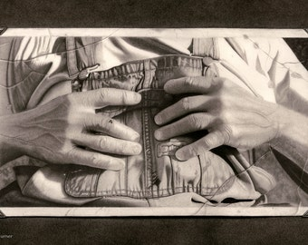"""Daddy's Hands 18""""x24"""" Graphite on Paper"""