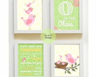 Girl Nursery Decor - You are My Sunshine Prints for Nursery or Kids Room,  Baby Nursery Decor, set of four  8x10, pink and green