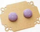 Fabric Button Earring Stud - Purple Polka Dot - Stud Earring - Hypoallergenic Earrings
