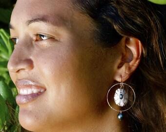 Opihi Kahiki Earrings- opihi shell with Tahitian pearl hoop earrings