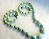 CIJ Sale Irridescent Green Graduating Bead Necklace - 1970's plastic