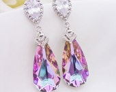 Wedding Jewelry Bridesmaid Gift Bridal Jewelry Bridesmaid Jewelry Swarovski Vitrail Light Crystal Tear Drop Earrings Purple Pink Earrings