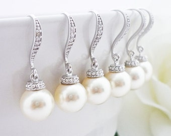 15% OFF SET of 8 Bridesmaid Gift Wedding Jewelry Bridal Pearl Earrings Bridesmaid Jewelry White OR Cream Swarovski Round Pearl Drop Earrings
