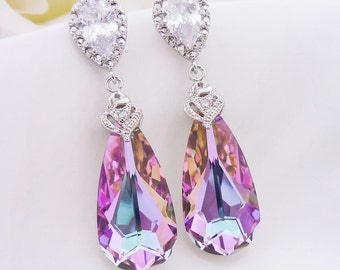 Wedding Jewelry Bridesmaid Gift Bridal Jewelry Bridesmaid Jewelry Swarovski Vitrail Light Crystal Tear Drop Earrings Purple Pink Earrings