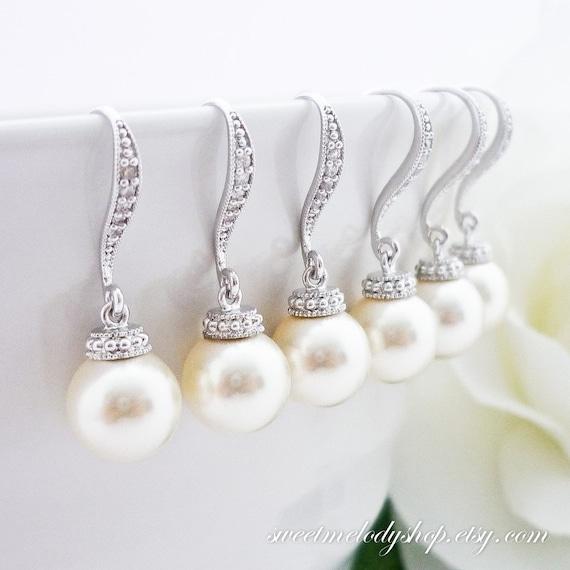15% OFF SET of 8 Bridesmaid Gift Wedding Jewelry Bridal Pearl Earrings ...