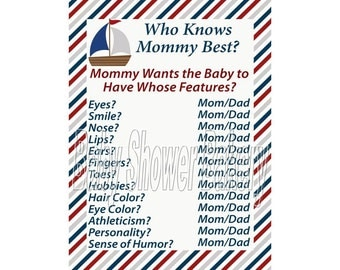 Nautical Baby Shower Game, Who Knows Mommy Best Game, Nautical Theme Baby Shower Game, Printable Nautical Shower Game for Boy
