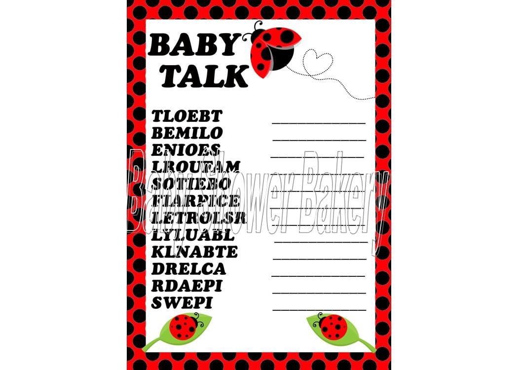 Ladybug Baby Shower Game Ladybug Baby Word by BabyShowerBakery