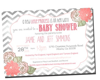 Baby Girl Shower Invitation Shabby Chic, Chevron Invitation Pink and Grey _1292
