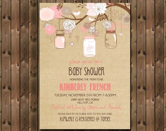 Rustic Baby Girl Shower Invitation with mason jars, Digital File,  PRINTABLE  _1182