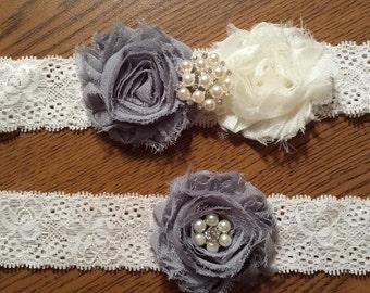 Grey / Ivory Wedding Garter -  Bridal Garter Set - Ivory Stretch Lace - Pearl Rhinestone embellishment.  .