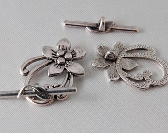 2 sets - 30mm Antique Silver Flower & Leaf Toggle