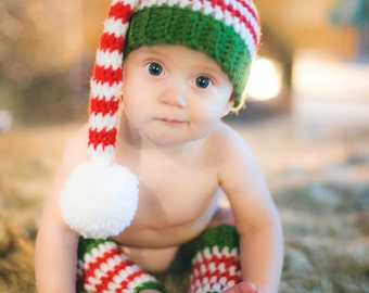 Santa's Helper Elf Hat & Legwarmers Set - Newborn to 12 months- Crochet
