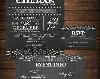 Wedding Invitation - DIY Printable Fancy Chalk Board