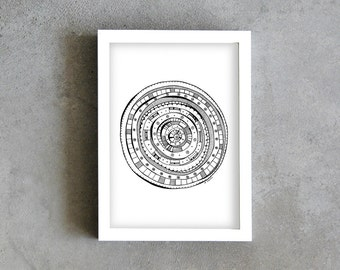 A4 art print, circle pen drawing, motif drawing, black and white, contemporary home decoration