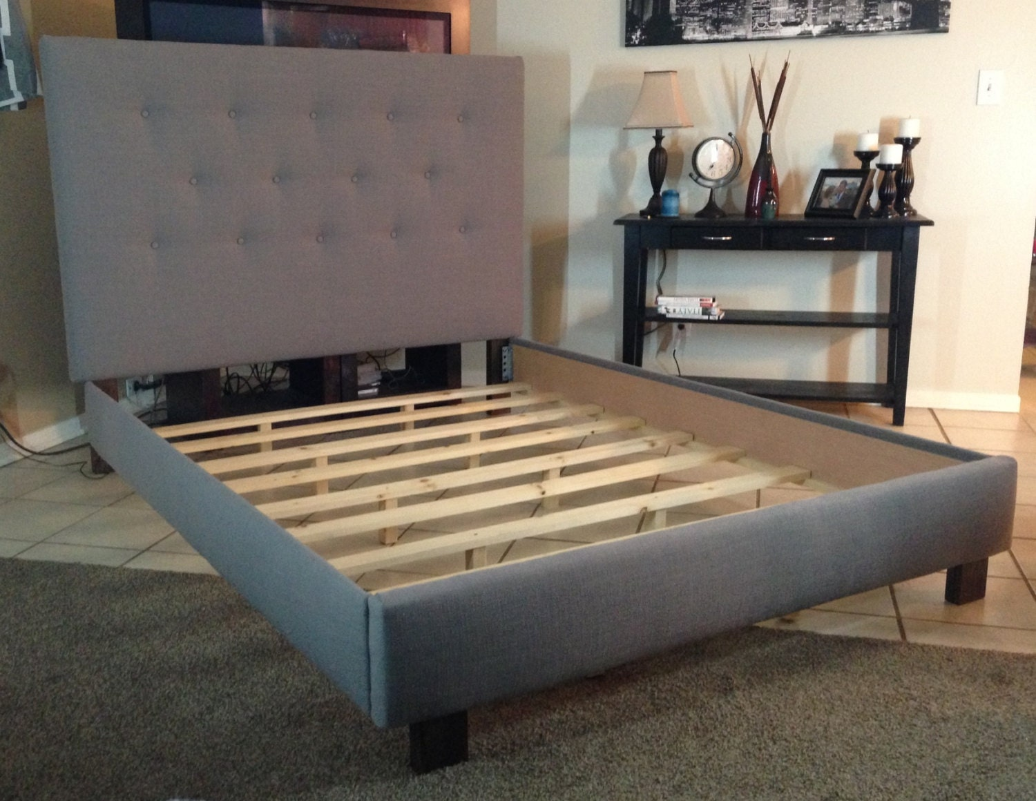 Queen Or Full Size Headboard And Bed Frame Gray Linen By