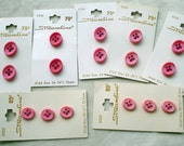Small Bright  Pink Oval Vintage Buttons on Cards,  Two Sizes