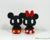 Crochet Mickey and Minnie Mouse, Chibi Amigurumi Mouse Plushis, Disney Inspired