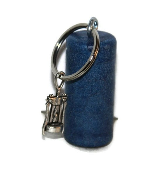 items similar to nautical blue cork key chain cork screw wine bottle opener charm on etsy. Black Bedroom Furniture Sets. Home Design Ideas