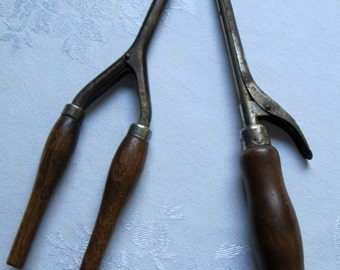 Antique / Vintage Curling Rods - Irons w/ Wood Handles - Lot of 2