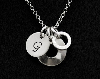 Initial Letter Charm Necklace - Personalized Letter Charm Pendant - Domed Disc Sterling Silver Charm Necklace - Hammered Ring Charm Pendant