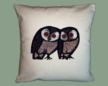 Happy Owls Vintage  Celestino Piatti  Handmade 16x16 Pillow Cover -Choice of Fabric