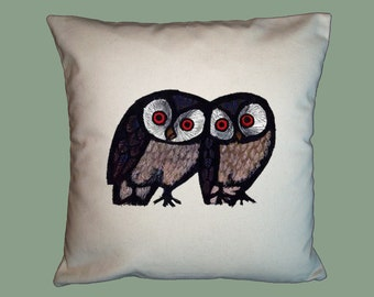 Happy Owls Vintage  Celestino Piatti  Handmade 16x16 Pillow Cover -Choice of Fabric