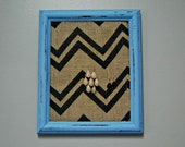 Picture Frame Earring Holder Chevron Distressed Blue Burlap Repurposed Jewelry Display Organizer Rustic Country Shabby Chic