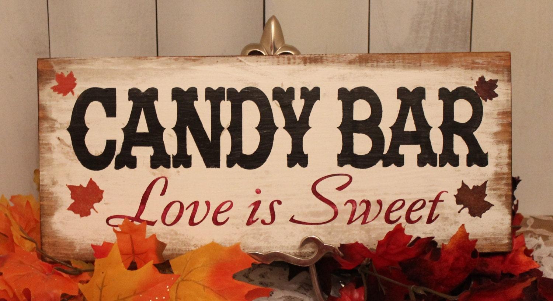 candy bar wedding sign fall leaves great shower gift vintage. Black Bedroom Furniture Sets. Home Design Ideas