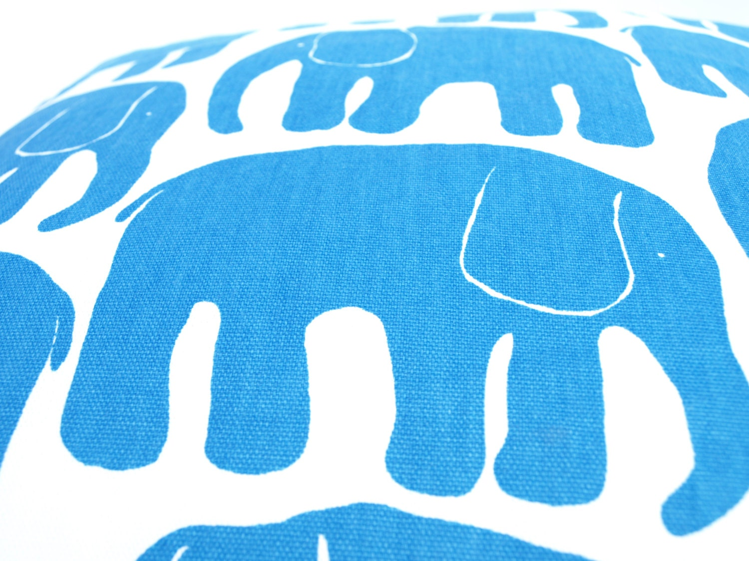 Bright Blue Decorative Pillow : Decorative Pillow cover white bright blue Elephants by Dreamzzzzz