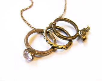 Antiqued Brass Bronze Ring Trio Necklace / Gift for Her