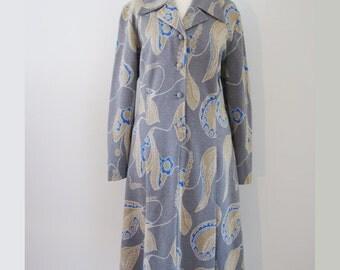 60s Grey Paisley Shirtwaist Wool Coat, L-XL // Vintage Coat Smock // Winter Dress Coat // Pullover Coat