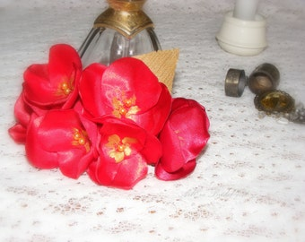 Red flower  bridal,  head piece, satin rose pearl, barrette, flamenco dance, Christmas party