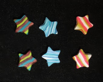 Colorful, star shaped, polymer clay post earrings