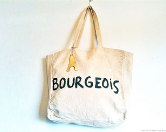 CUSTOM Bourgeois French Upper Middle Class Cotton Tote Shoulder Eco Bag / Eve Damon