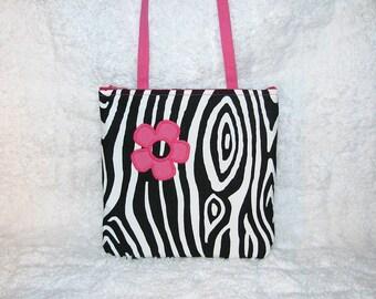 Small Purse Long Strap Zebra Print, Hot Pink Strap, Pink Flower Applique - Womens Shoulder Bag