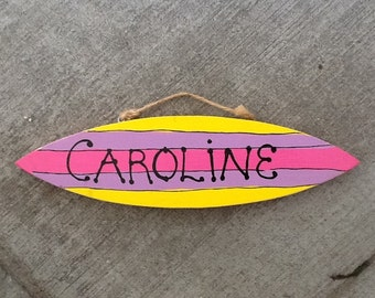 Personalized Wood Surfboard sign
