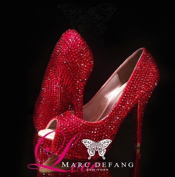 RED Red AllOver, Fully Crystalized Luxury Peep Toe Pumps, Wedding Shoes