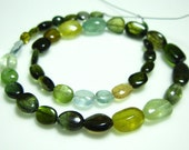 "Chrome Multi Tourmaline Smooth Nuggets- 10"" Strand -Stones measure- 5-8mm"