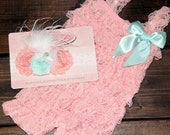 Pink Ruffled Lace Petti Romper Set - Matching Shabby Chic Headband - Toddler, Baby, Girl, Child