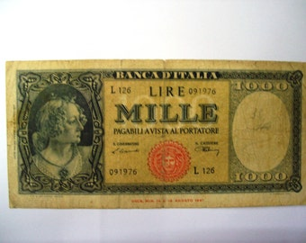 Vintage SALES-OFF 50% Discount. Italy 1000 lire Republic of Italy  banknote 1947. art. 9601- very old  banknote. 69 years old.69th Birthday