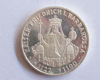 Germany 10 Mark 1990 silver coin. 800 th  anniversary of the death of Kaiser Barbarossa. non circulated. coin for collectors.25th birthday
