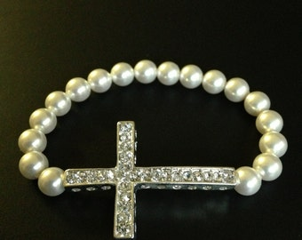 Children's Crystal Sideways Cross Bracelet