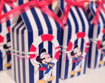 Personalized Favor Box (Qty 10) - Mickey Mouse Nautical for birthday, wedding, baby shower