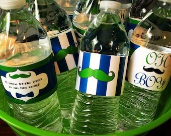Mustache Theme Water Bottle Labels