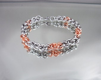 Linkage Steel and Copper Chainmai Bracelet