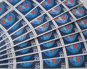 You Mean the World to Me... Unused Vintage Postage Stamps ... 50 29 Cent Global Heart Love Stamps